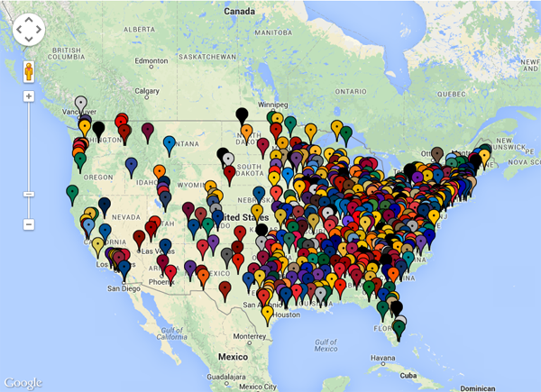 NCAA Football Map